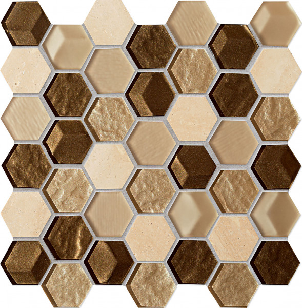 Elements Drops Stone Brown Hex Wandmosaik