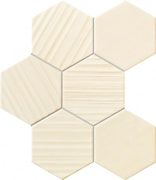 Horizon Hex Ivory Wandmosaik